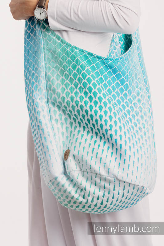 Hobo Bag made of woven fabric, 100% cotton - ICICLES - ICE MINT #babywearing