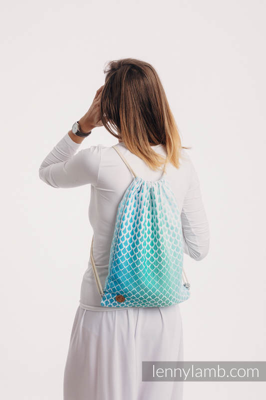 Sackpack made of wrap fabric (100% cotton) - ICICLES - ICE MINT - standard size 32cmx43cm #babywearing