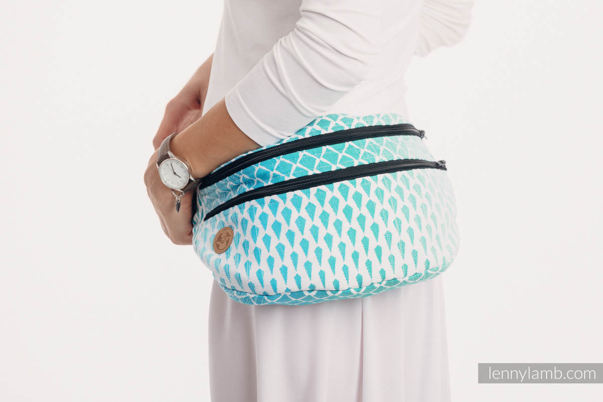 Waist Bag made of woven fabric, size large (100% cotton) - ICICLES - ICE MINT #babywearing