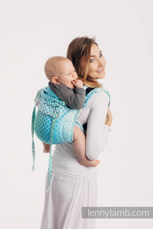 Lenny Buckle Onbuhimo, standard size, jacquard weave (100% cotton) - Wrap conversion from ICICLES - ICE MINT #babywearing