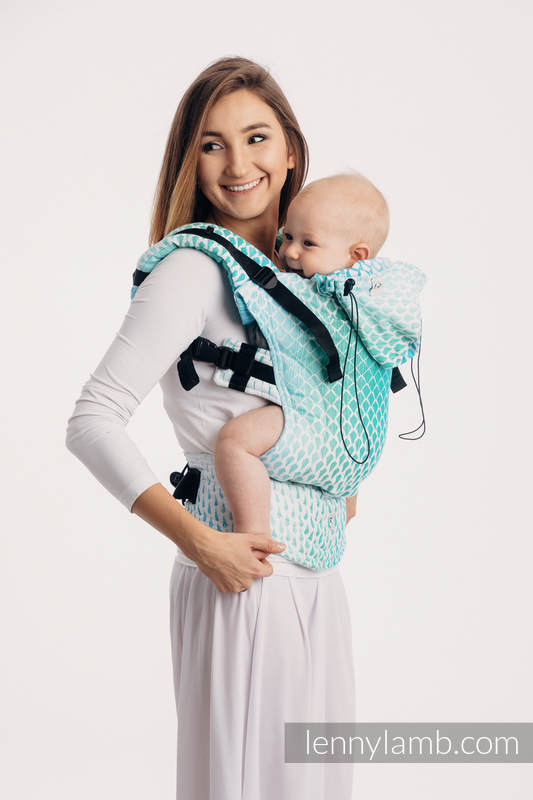 Ergonomic Carrier, Baby Size, jacquard weave 100% cotton - ICICLES - ICE MINT - Second Generation #babywearing