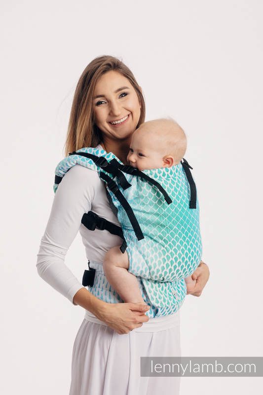 LennyUp Carrier, Standard Size, jacquard weave 100% cotton - wrap conversion from ICICLES - ICE MINT #babywearing