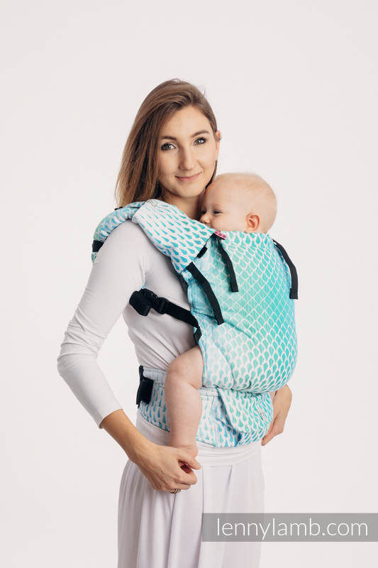LennyUp Carrier, Standard Size, jacquard weave 100% cotton - ICICLES - ICE MINT #babywearing
