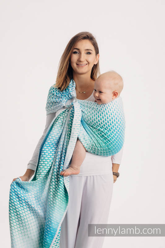 Ringsling, Jacquard Weave (100% cotton) - with gathered shoulder - ICICLES - ICE MINT #babywearing