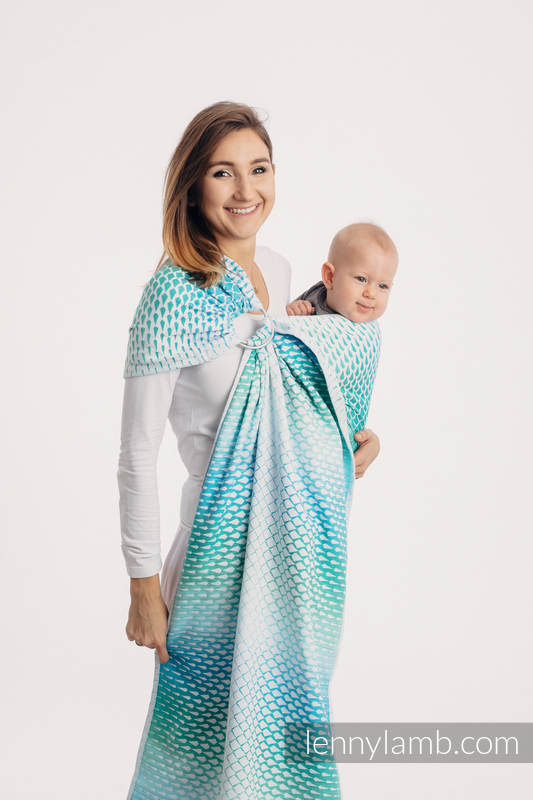 Ringsling, Jacquard Weave (100% cotton) - with gathered shoulder - ICICLES - ICE MINT - long 2.1m #babywearing