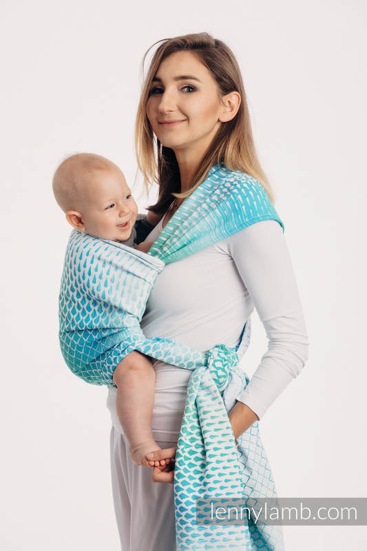 Baby Wrap, Jacquard Weave (100% cotton) - ICICLES - ICE MINT - size XL #babywearing
