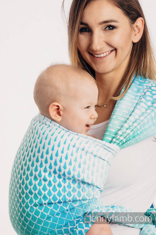 Baby Wrap, Jacquard Weave (100% cotton) - ICICLES - ICE MINT - size XS #babywearing