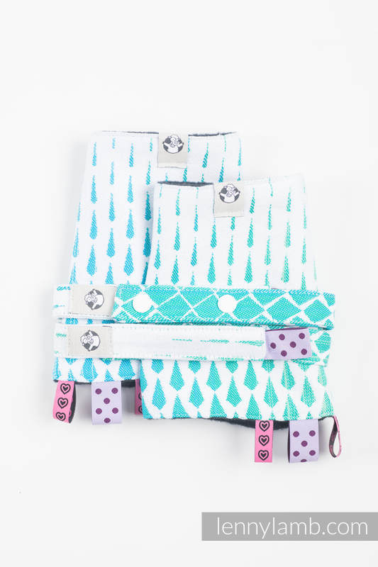 Drool Pads & Reach Straps Set, (60% cotton, 40% polyester) - ICICLES - ICE MINT #babywearing