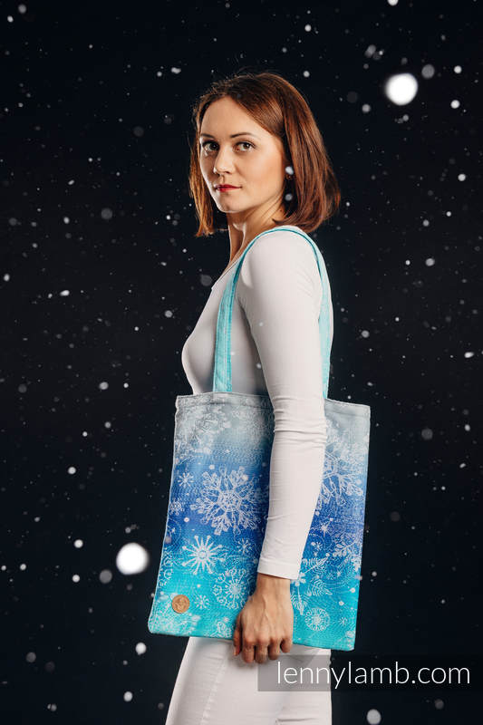Shopping bag made of wrap fabric (96% cotton, 4% metallised yarn) - SNOW QUEEN - MAGIC LAKE #babywearing