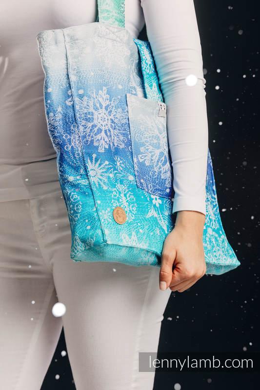 Shoulder bag made of wrap fabric (96% cotton, 4% metallised yarn) - SNOW QUEEN - MAGIC LAKE - standard size 37cmx37cm #babywearing