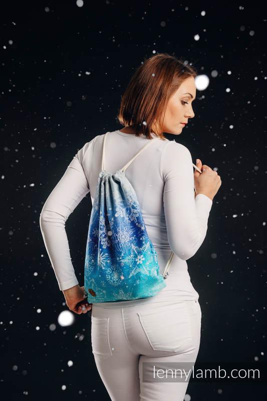Sackpack made of wrap fabric (96% cotton, 4% metallised yarn) - SNOW QUEEN - MAGIC LAKE - standard size 32cmx43cm #babywearing