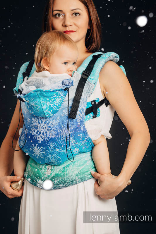 Ergonomic Carrier, Baby Size, jacquard weave, 96% cotton, 4% metallised yarn - SNOW QUEEN - MAGIC LAKE - Second Generation #babywearing
