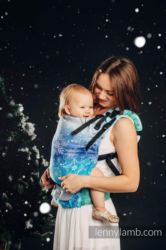 LennyUp Carrier, Standard Size, jacquard weave 96% cotton, 4% metallised yarn - SNOW QUEEN - MAGIC LAKE (grade B) #babywearing
