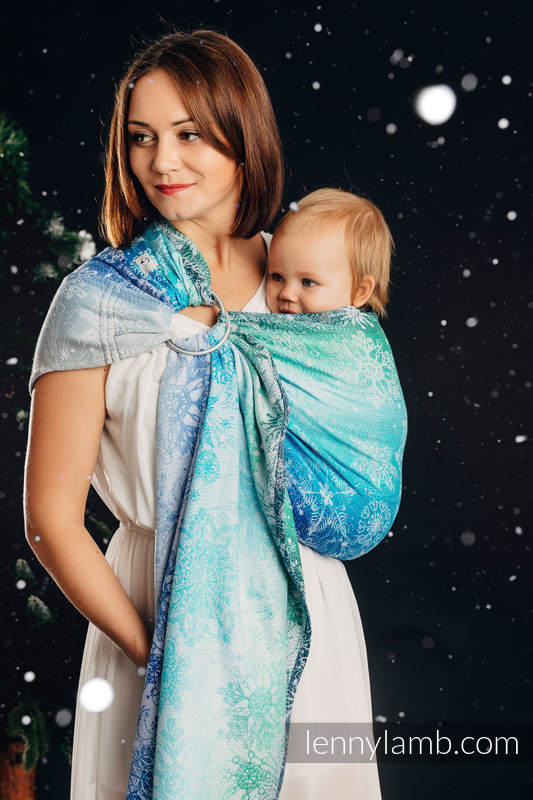 Bandolera de anillas, tejido Jacquard (96% algodón, 4% hilo metalizado) - con plegado simple - SNOW QUEEN - MAGIC LAKE - long 2.1m #babywearing