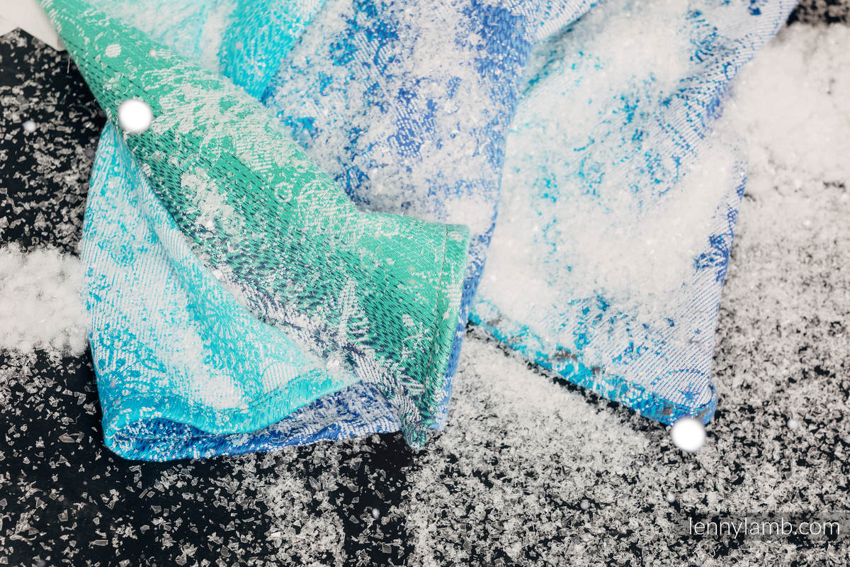 Baby Wrap, Jacquard Weave (96% cotton, 4% metallised yarn) - SNOW QUEEN - MAGIC LAKE - size XS #babywearing