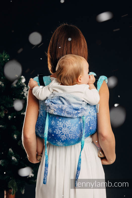 Lenny Buckle Onbuhimo baby carrier, toddler size, jacquard weave (96% cotton, 4% metallised yarn) - SNOW QUEEN - MAGIC LAKE #babywearing