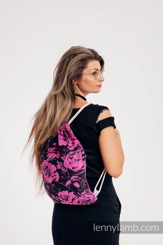 Mochila portaobjetos hecha de tejido de fular (100% algodón) - RETRO 'N' ROSES - talla estándar 32cm x 43cm #babywearing