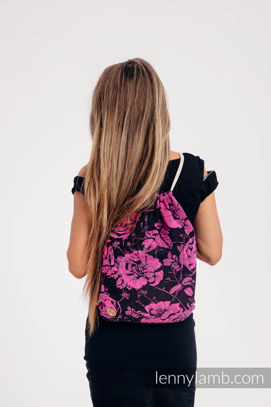 Sackpack made of wrap fabric (100% cotton) - RETRO 'N' ROSES - standard size 32cm x 43cm #babywearing