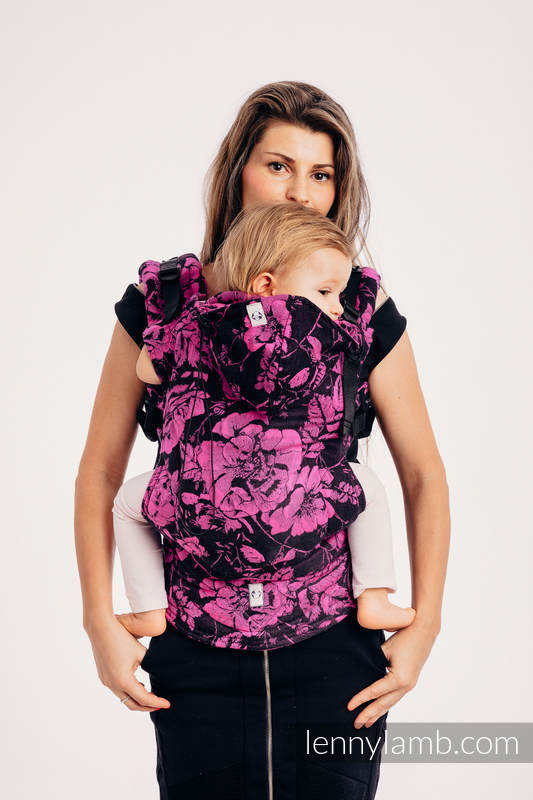 Ergonomic Carrier, Toddler Size, jacquard weave 100% cotton - RETRO 'N' ROSES - Second Generation #babywearing