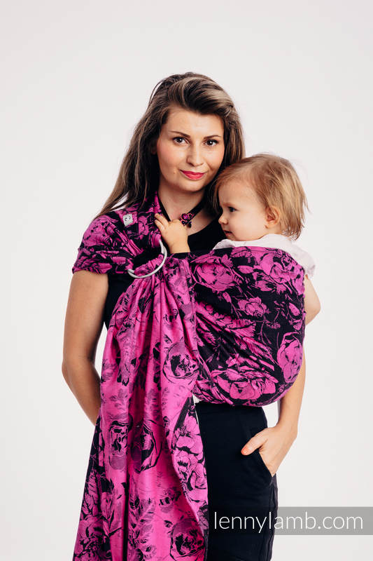 Ringsling, Jacquard Weave (100% cotton), with gathered shoulder - RETRO 'N' ROSES - standard 1.8m #babywearing