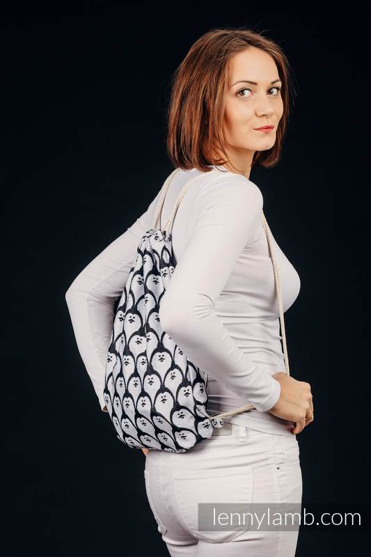 Sackpack made of wrap fabric (100% cotton) - DOMINICAN PENGUIN - standard size 32cm x 43cm #babywearing