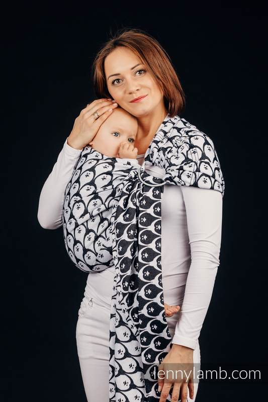 Ringsling, Jacquard Weave (100% cotton) - with gathered shoulder - DOMINICAN PENGUIN - long 2.1m #babywearing