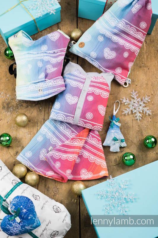 Prezentowy Zestaw Świąteczny dla Starszej Dziewczynki (LennyBomber - 100%bawełna; LennySkirt - 100% bawełna; Nosidełko dla lalek - 100% bawełna; Plecak/worek - 100% bawełna; ozdoba świąteczna - 100% bawełna) #babywearing