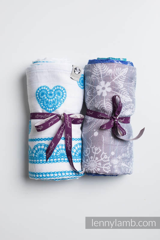 Swaddle Wrap Set - SNOW QUEEN MAGIC LAKE, ICED LACE TURQUOISE&WHITE #babywearing