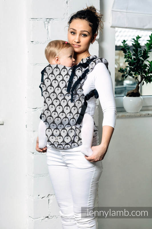 LennyUp Carrier, Standard Size, jacquard weave 100% cotton - DOMINICAN PENGUIN #babywearing