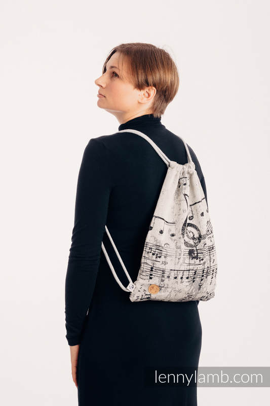 Sackpack made of wrap fabric (96% cotton, 4% metallised yarn) - SYMPHONY GLOWING DUST - standard size 32cmx43cm #babywearing