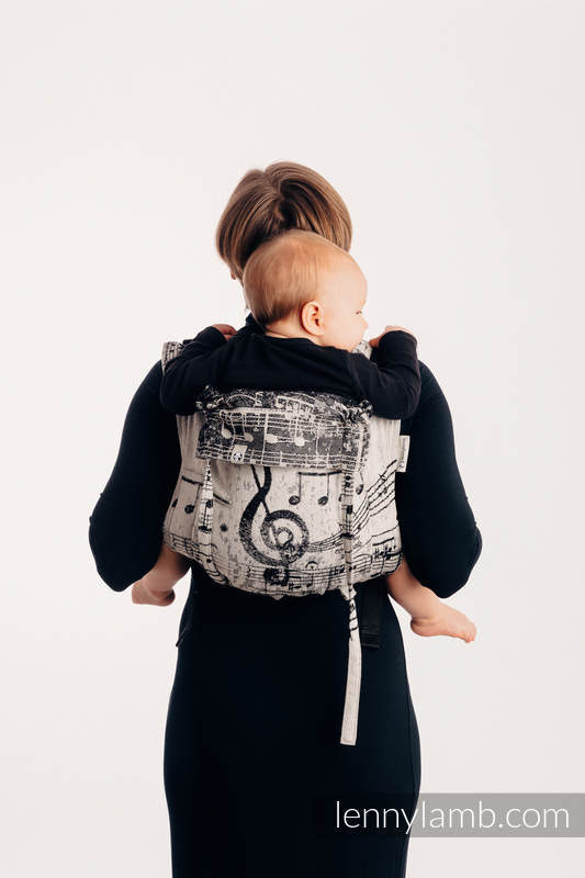 Lenny Buckle Onbuhimo, standard size, jacquard weave (96% cotton, 4% metallised yarn) - SYMPHONY GLOWING DUST #babywearing