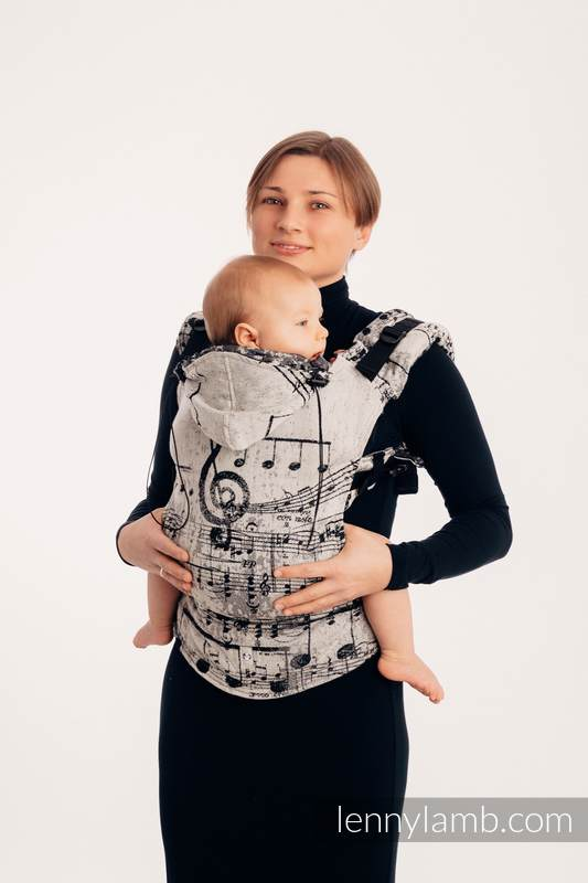 Ergonomic Carrier, Baby Size, jacquard weave, 96% cotton, 4% metallised yarn - SYMPHONY GLOWING DUST - Second Generation #babywearing