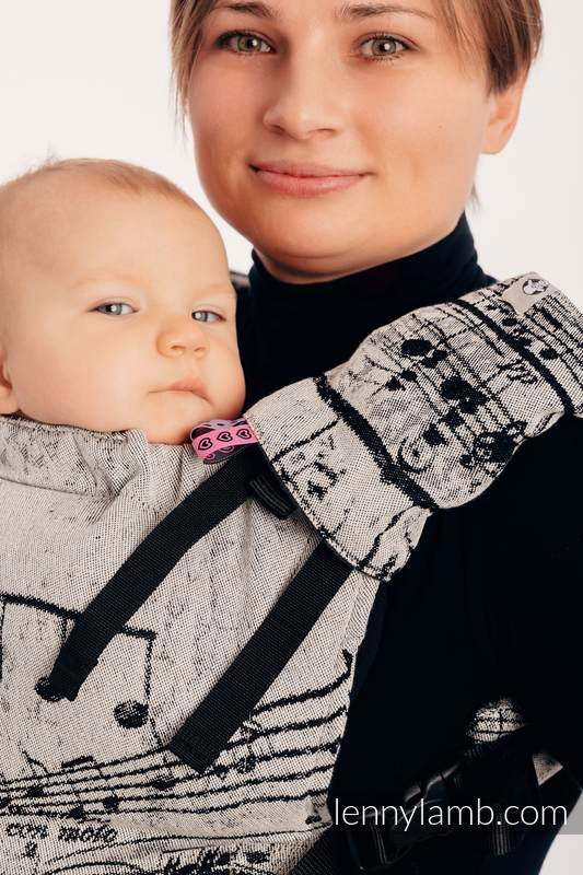 LennyUp Carrier, Standard Size, jacquard weave 96% cotton, 4% metallised yarn - SYMPHONY GLOWING DUST #babywearing