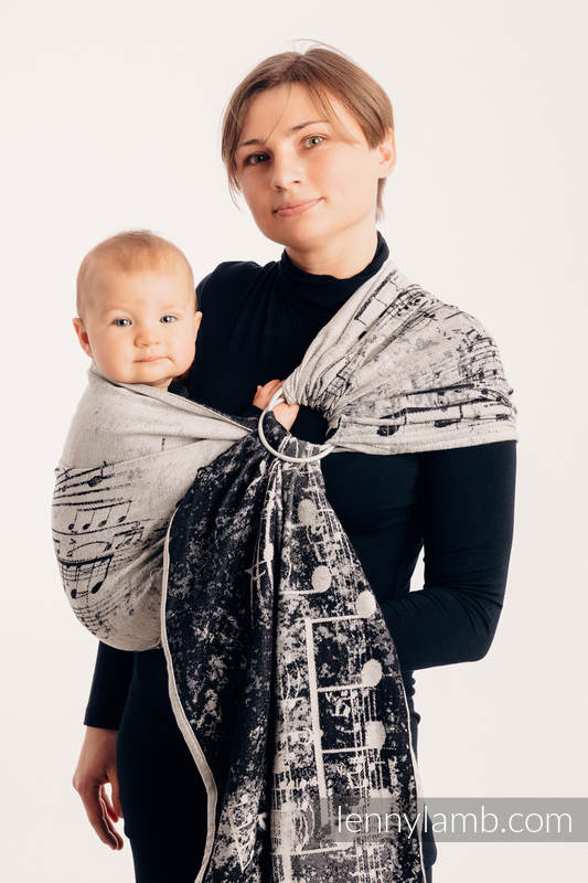 Ringsling, Jacquard Weave (96% cotton, 4% metallised yarn) - with gathered shoulder - SYMPHONY GLOWING DUST #babywearing