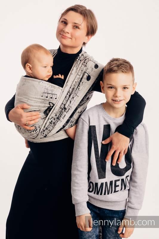 Baby Wrap, Jacquard Weave (96% cotton, 4% metallised yarn) - SYMPHONY GLOWING DUST  - size XS #babywearing