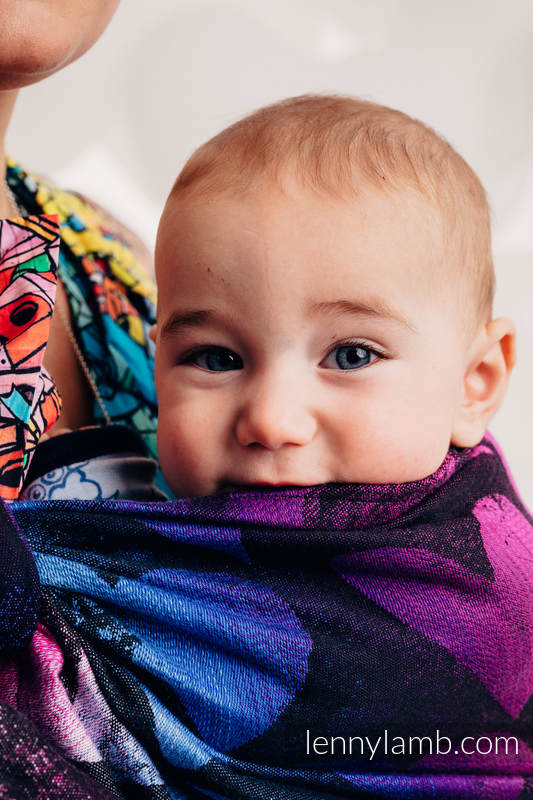 Ringsling, Jacquard Weave (100% cotton) - with gathered shoulder - LOVKA PINKY VIOLET - long 2.1m #babywearing