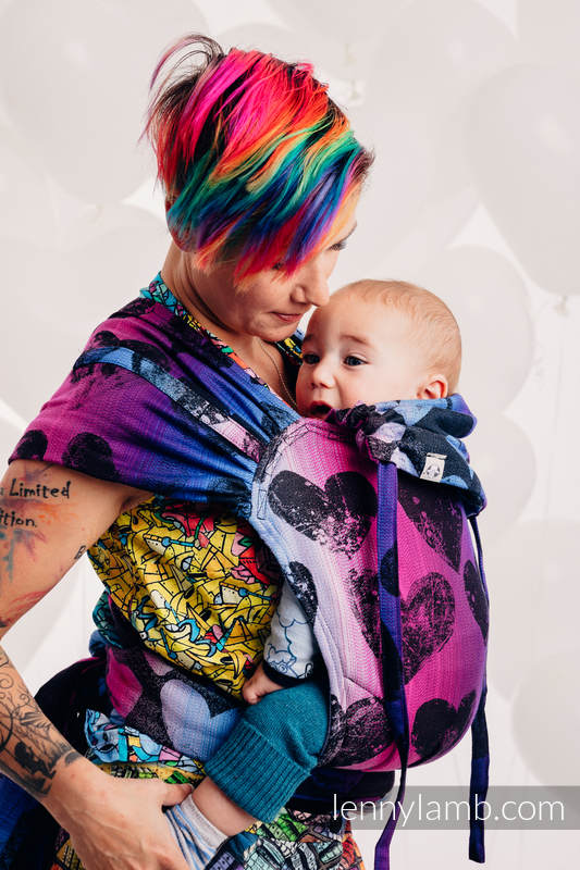 WRAP-TAI carrier Mini with hood/ jacquard twill / 100% cotton - LOVKA PINKY VIOLET #babywearing