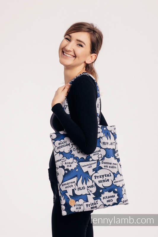 Bolsa de la compra hecho de tejido de fular (100% algodón) - HUG ME - BLUE #babywearing