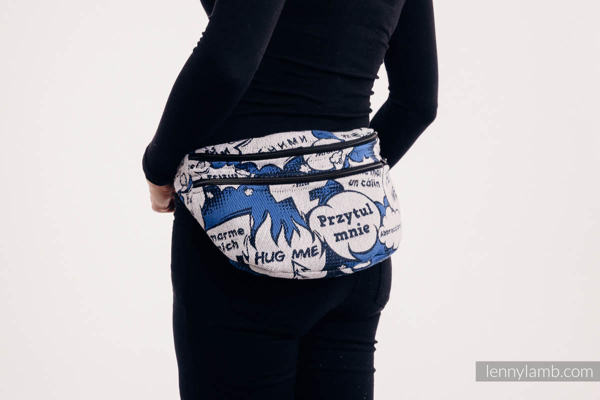 Riñonera hecha de tejido de fular, talla grande (100% algodón) - HUG ME - BLUE #babywearing
