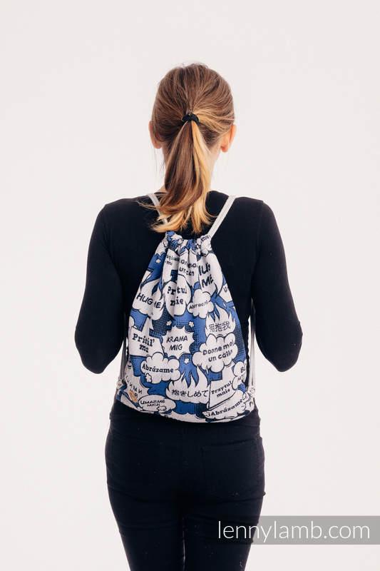 Mochila portaobjetos hecha de tejido de fular (100% algodón) - HUG ME - BLUE - talla estándar 32cm x 43cm #babywearing