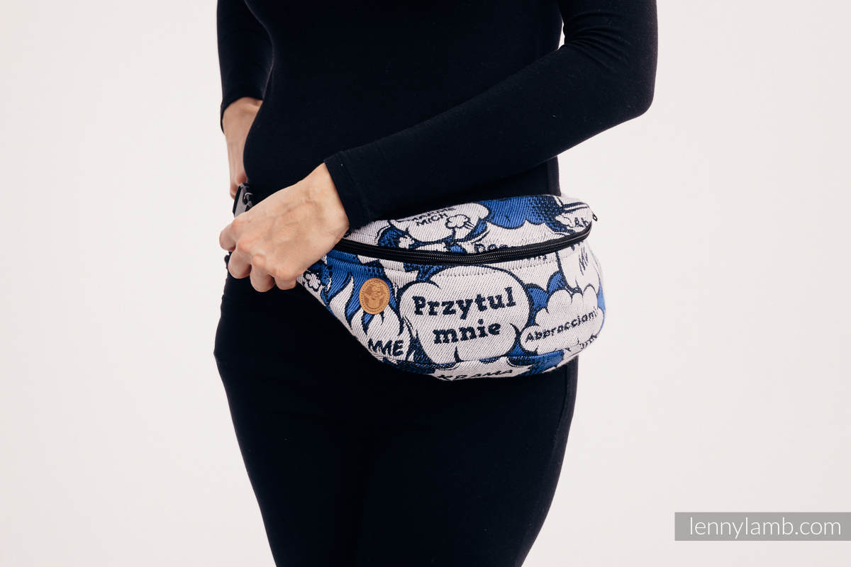 Waist Bag made of woven fabric, (100% cotton) - HUG ME - BLUE #babywearing