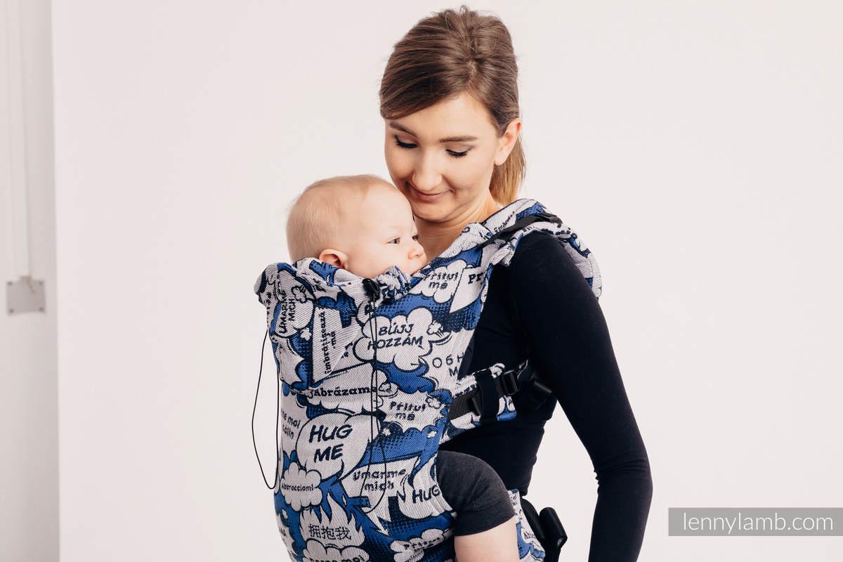 Nosidełko Ergonomiczne z tkaniny żakardowej (100% bawełna), Toddler Size - PRZYTUL MNIE - NIEBIESKI - Druga Generacja (drugi gatunek) #babywearing
