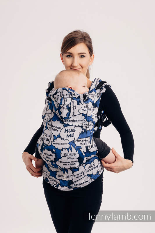Ergonomic Carrier, Baby Size, jacquard weave 100% cotton - HUG ME - BLUE - Second Generation #babywearing