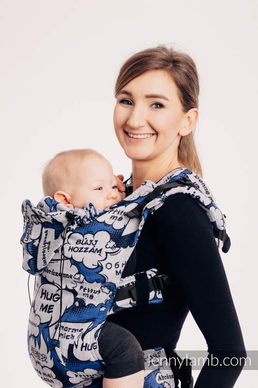 Nosidełko Ergonomiczne z tkaniny żakardowej (100% bawełna), Baby Size - PRZYTUL MNIE - NIEBIESKI - Druga Generacja #babywearing