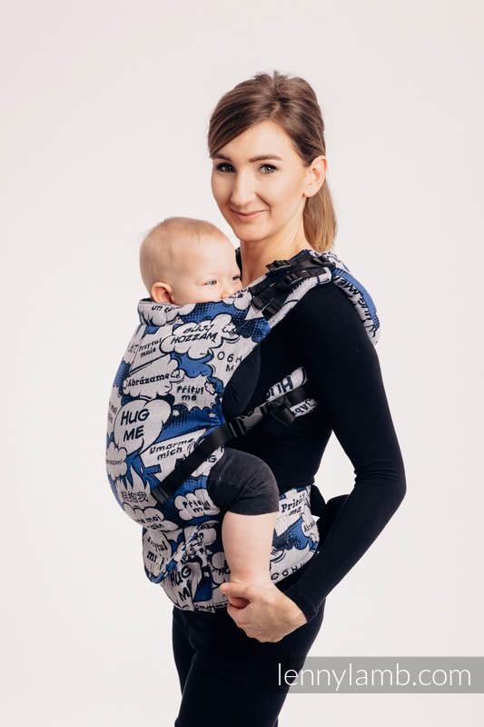 Nosidełko LennyUp z tkaniny żakardowej 100% bawełna , rozmiar standard - PRZYTUL MNIE - NIEBIESKI (drugi gatunek) #babywearing