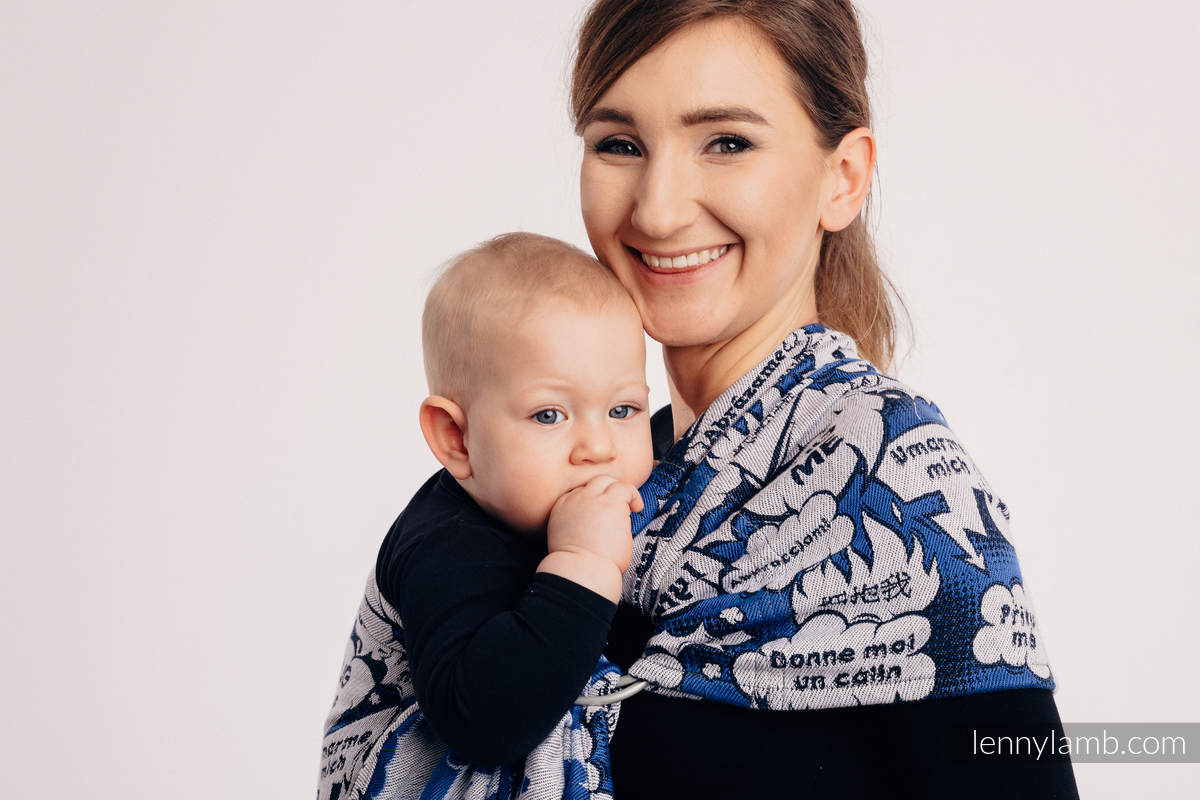 Ringsling, Jacquard Weave (100% cotton) - HUG ME - BLUE - standard 1.8m #babywearing