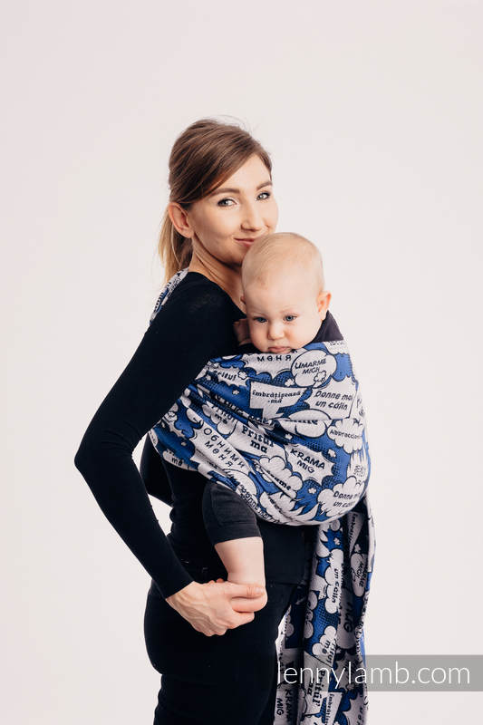 Ringsling, Jacquard Weave (100% cotton) - with gathered shoulder - HUG ME - BLUE - long 2.1m #babywearing