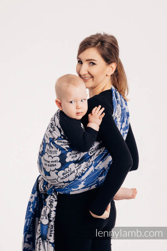 Baby Wrap, Jacquard Weave (100% cotton) - HUG ME - BLUE - size XS #babywearing