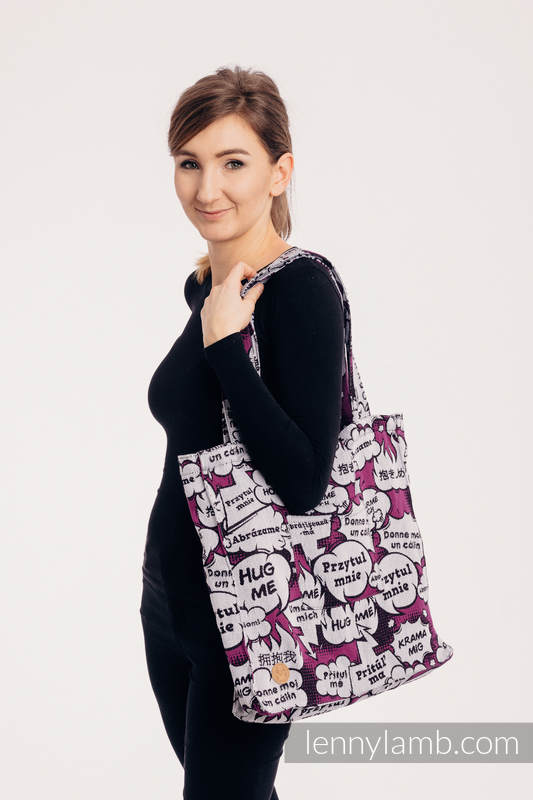 Shoulder bag made of wrap fabric (100% cotton) - HUG ME - PINK - standard size 37cm x 37cm #babywearing