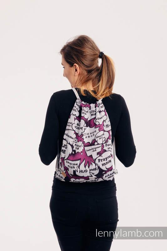 Mochila portaobjetos hecha de tejido de fular (100% algodón) - HUG ME - PINK - talla estándar 32cm x 43cm #babywearing